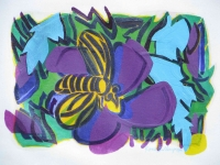 Bee on a Purple Blossom 2014 acrylic on canvas 23 X 31in.