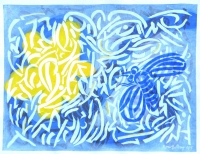 Blue Bee with Yellow Blossom 2014 acrylic on canvas 24.5 X 31.5 in.