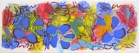 Blue Blossoms with Bees 2014 acrylic on canvas 29 X 75.5 in.