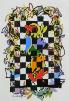 Checkered Column 2012 acrylic on canvas 56 X 36 in.