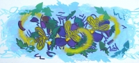 Three Bees with Pollen 2014 acrylic on canvas 35 X 76 in.