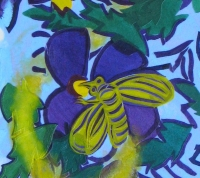 Three Bees with Pollen 2014 detail acrylic on canvas 35 X 76 in.