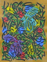 Two Bees with Primary Blossoms 2014 acrylic on canvas 31 X 23 in.