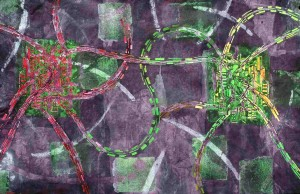 City Centres Red and Green 1998 25 X 38 in. watercolour and polymer.jpgs