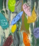 Fallen Leaves  1993  acrylic on canvas   54 X 46 in. (Family Gallery)