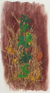 Animals with Leaves of Grass 2013   acrylic and leaves of grass on canvas  52 X 27 in. a
