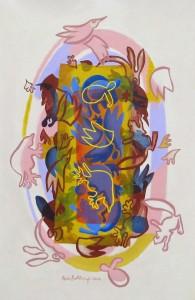 Faunal Rhythm  2012  acrylic on canvas  52 X 35 in