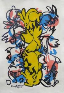 Yellow Pillar  2012  acrylic on canvas  43 X 31 in. - Copy