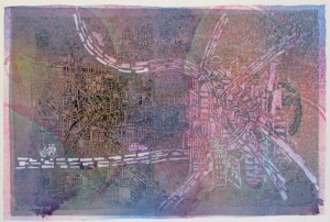 Two Cities 2008  acrylic and collage on canvas  33 X 48 in.
