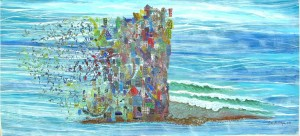 Water, Wind Earth 2008 acrylic on canvas 35inX75in