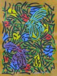 Two Bees with Primary Blossoms 2014   acrylic on canvas   31 X 23 in. (Bees Gallery)