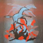 Dark-Horse-Blue-and-Black-2010-acrylic-on-canvas-21.5-X-20in. (Horses Gallery)